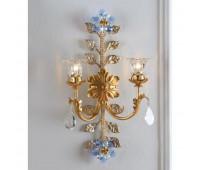 Бра   Epoca Lampadari 1403/A2C dec. 722 blue crystal  Античная золотая фольга, античная серебряная фольга (пр-во Италия)