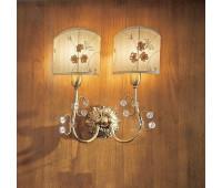 Бра IL Paralume Marina 1292/A  Состаренное золото, прозрачные цветочки (пр-во Италия)