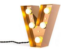 Декоративная буква с подсветкой  Seletti Caractere 01402_V  Золотистый (пр-во Италия)