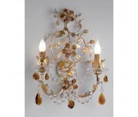 Бра   Epoca Lampadari 1413/A2 dec. 725 amber crystal  Золотая фольга с серебряной фольгой (пр-во Италия)