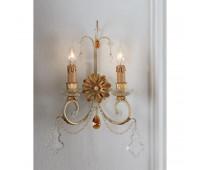 Бра   Epoca Lampadari 1433/A2 dec. 580 amber crystal  Золотая фольга, светлый (пр-во Италия)