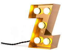 Декоративная буква с подсветкой  Seletti Caractere 01402_Z  Золотистый (пр-во Италия)