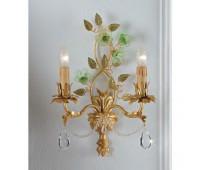 Бра   Epoca Lampadari 1411/A2 dec. 781 green flowers  Античная золотая фольга, зеленый (пр-во Италия)