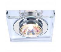 CRYSTAL 1 светильник встраиваемый для лампы MR16 35Вт макс., хром/ стекло прозрачное кристаллическое SLV 114920  (пр-во Германия)