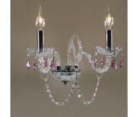 Бра   Epoca Lampadari 1448/A2 dec. chrome, pink crystal  Хром, прозрачный (пр-во Италия)