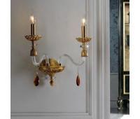 Бра   Epoca Lampadari 1447/A2 dec. 710 amber crystal  Патинированная золотая фольга (пр-во Италия)